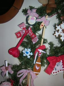 Whisk & Rolling Pin Ornaments, Gingerbread Wooden Spoon, Mini Wooden Spoon Ornament, Scrapbook Paper Backed Shower Curtain Ring, Heart Shaped Measuring Cup, Pastel Snowflake