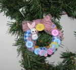 Fabric Wrapped Button Wreath