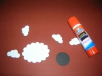 To create a 3D effect glue one to three black shapes to the white shapes.